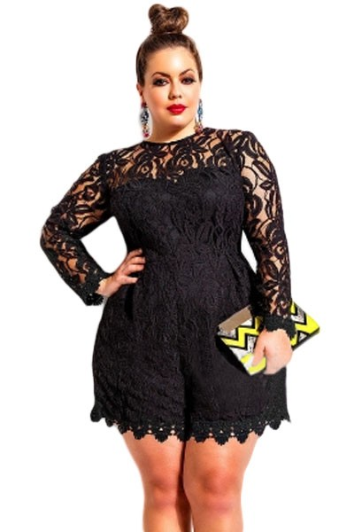 Black-Plus-Size-Long-Sleeve-Lace-Romper-LC60599-2-1