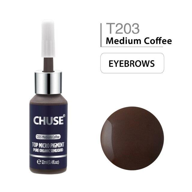 CHUSE Medium Coffee T203 Permanent Makeup Ink Eyeliner Tattoo Ink Set Eyebrow Microblading Pigment Professional 12ML 0.4oz