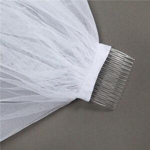 Image 4 - 4 מטר לבן שנהב קתדרלת חתונת רעלות ארוך התחרה Edge כלה רעלה עם מסרק כלה כלה אביזרי רעלה