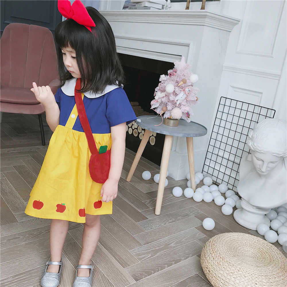 2019 Spring & Summer New Branca De Neve Maçã Impresso Vestido com A Apple Mochila Crianças Vestidos para As Meninas Da Criança Vestido de Férias novidade