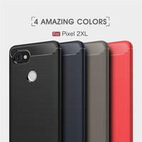 CUGUU Carbon Fiber Texture Case For Google Pixel 2 XL Soft TPU Luxury Silicone Case For Google Pixel XL Full Back Cover Pattren