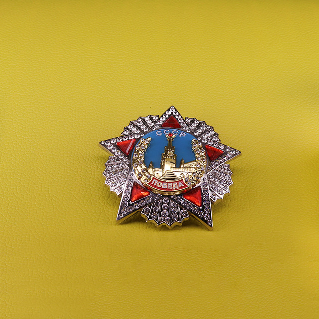 Значок СССР с изображением российского заказа победы, копия медали советской награды СССР, красная звезда, Мужская Подарочная брошь патриота