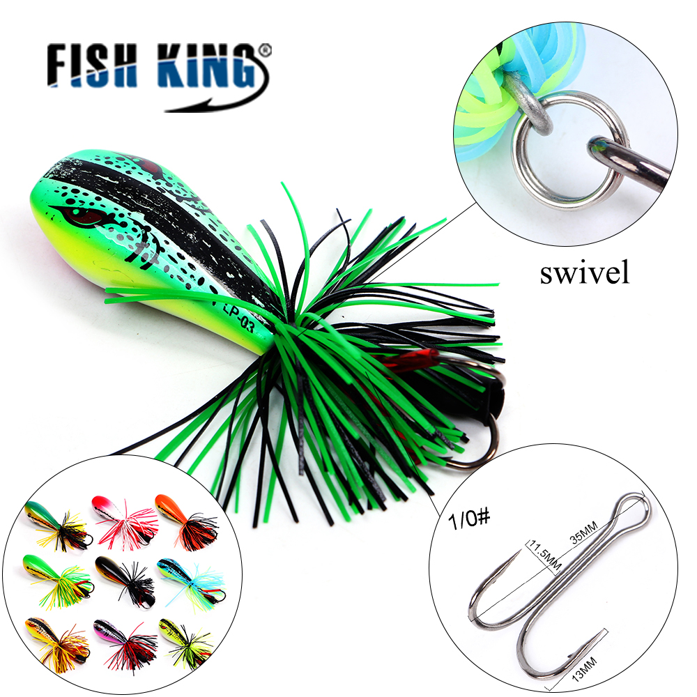 FISH KING 1Pcs Frog Lure 90mm/10g Hard Bass Bait Snakehead Lure Topwater Simulation Popper Frog Fishing Lures Fishing Tackle колымские рассказы в одном томе эксмо