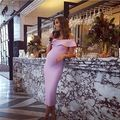 NOVAS CORES!!! New Arrivals 2016 Fora Do Ombro Malha HL Bandage Vestido Grávida Vestido Rosa Elegante Dividir Bodycon Vestido Atacado