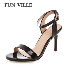 FUN VILLE New Fashion Summer Women Sandals High Quality Patent Leather Woman High Heels shoes Sexy Female Sandals Open Toe(China)