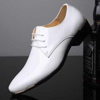 Llega zapatos de charol para hombre, zapatos de vestir para hombre con cordones en punta, para boda, fiesta de negocios, 5 colores, talla grande 2019