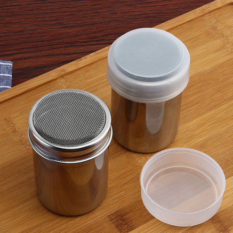 Small Large Size Stainless Steel Chocolate Shaker Icing Sugar Powder Flour Powder Cocoa Coffee Sifter Shaker with cover Bakeware