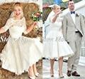 Fashionable Short Wedding Dress Half Sleeve Vestidos De Noiva Lace Sheer Robe De Mariage A Line Knee Length Wedding Dresses
