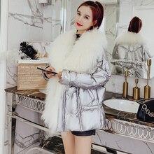 天然ウール大毛皮の襟ホワイトダックダウンジャケット女性の冬のコート 2019 光沢のあるフグジャケットとコートのためにパーカー