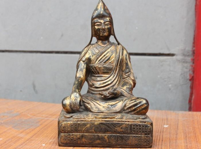 13.5 Cm China Tibet Buddhist Lama Teacher Guru Buddha Bronze Gilt Statue