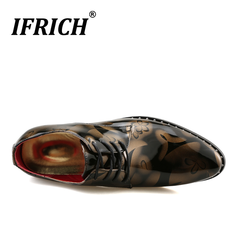 New Luxury Casual Brand Men Shoes Patent Leather Mens Dress Shoe For Wedding Fashion Oxford Shoe Men Lace Up Party Business Shoe in Formal Shoes from Shoes