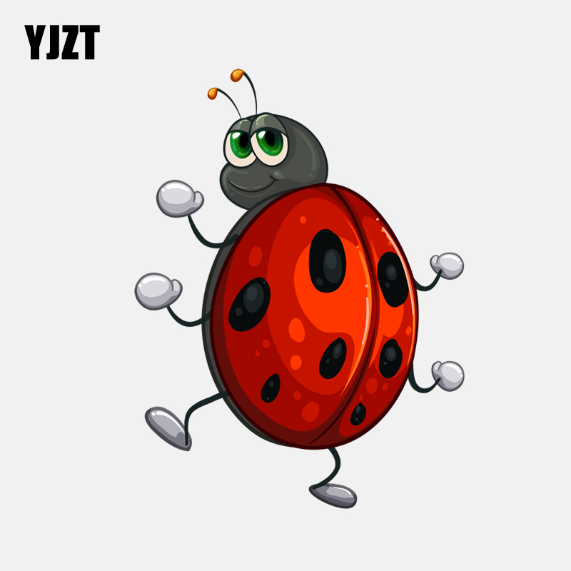 YJZT  12CM*16CM Cartoon Creative Ladybug  Decoration PVC Car Sticker 11-00859