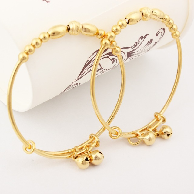 New Arrival Gold Color Baby Bracelets Bangles Jewelry Girls and