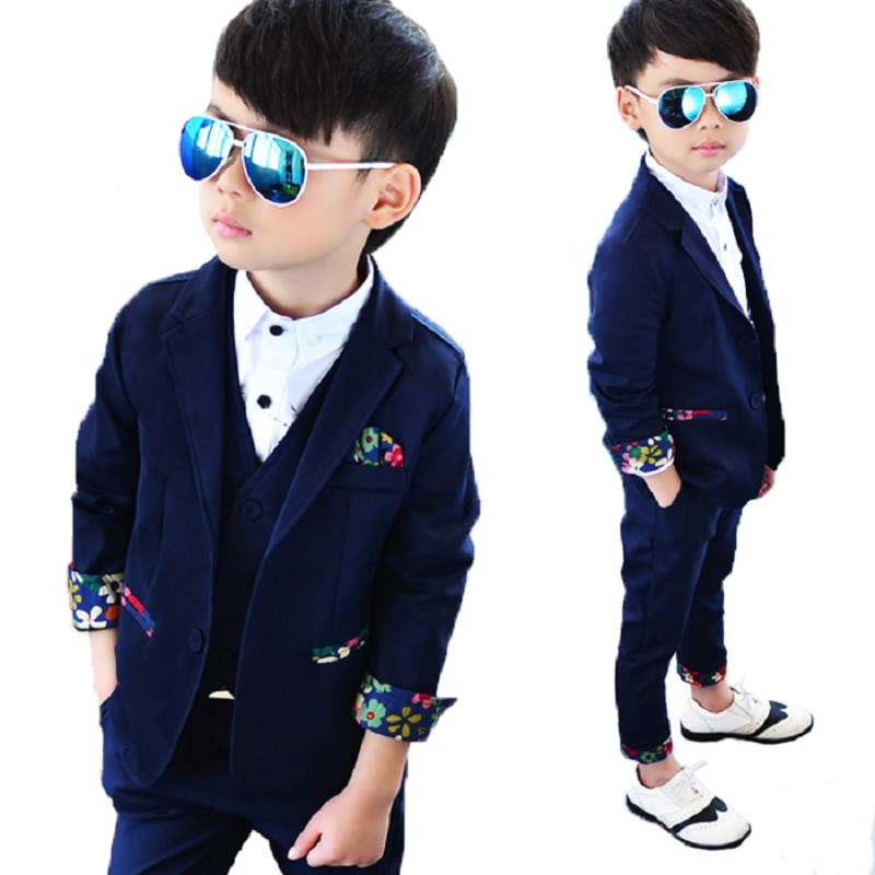 NEW 2018 Top+Pant+Vest Blazers Baby boy's Costumes Good Quality Child Slim Kids Party Weddings Clothes With Floral Print S83905A
