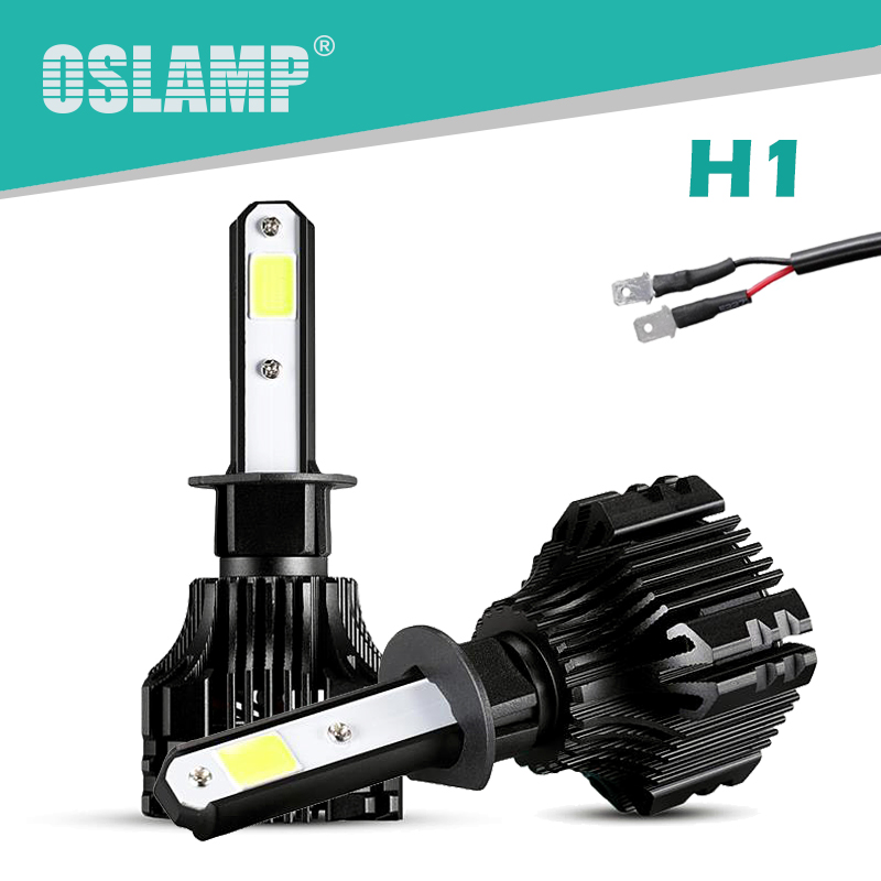 Oslamp S5 Series 2x 36W H1 LED Headlight Bulbs 6500K White COB Chips 2pcs H1 Fog Lamps All-in-one LED Car Bulbs with Cooling Fan genuine leather handmade women shoes vintage spring and autumn women shoes flat shoes low top casual shoes free shipping