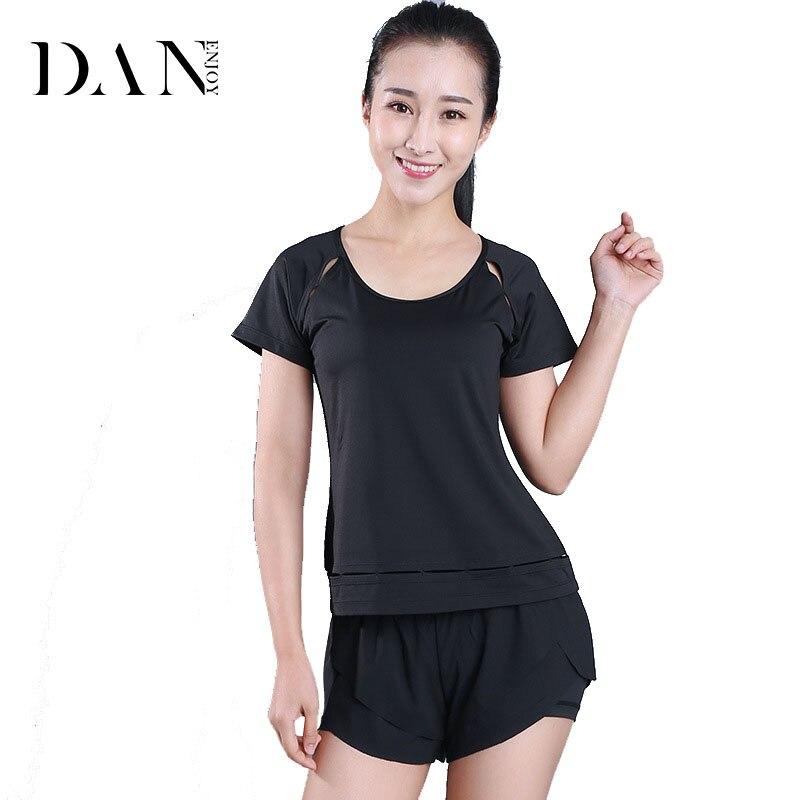 DANENJOY Hollow Out Yoga Top Summer Short Sleeve Women Sexy Sport T Shirt Fitness Clothing Sports Tops Gym Running Shirts B-206