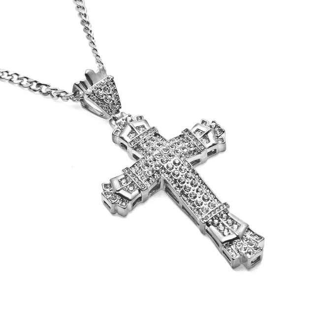 Men big cross pendant necklaces full rhinestone jewelry 70cm long men big cross pendant necklaces full rhinestone jewelry 70cm long chain men stainless steel silver necklace aloadofball Choice Image