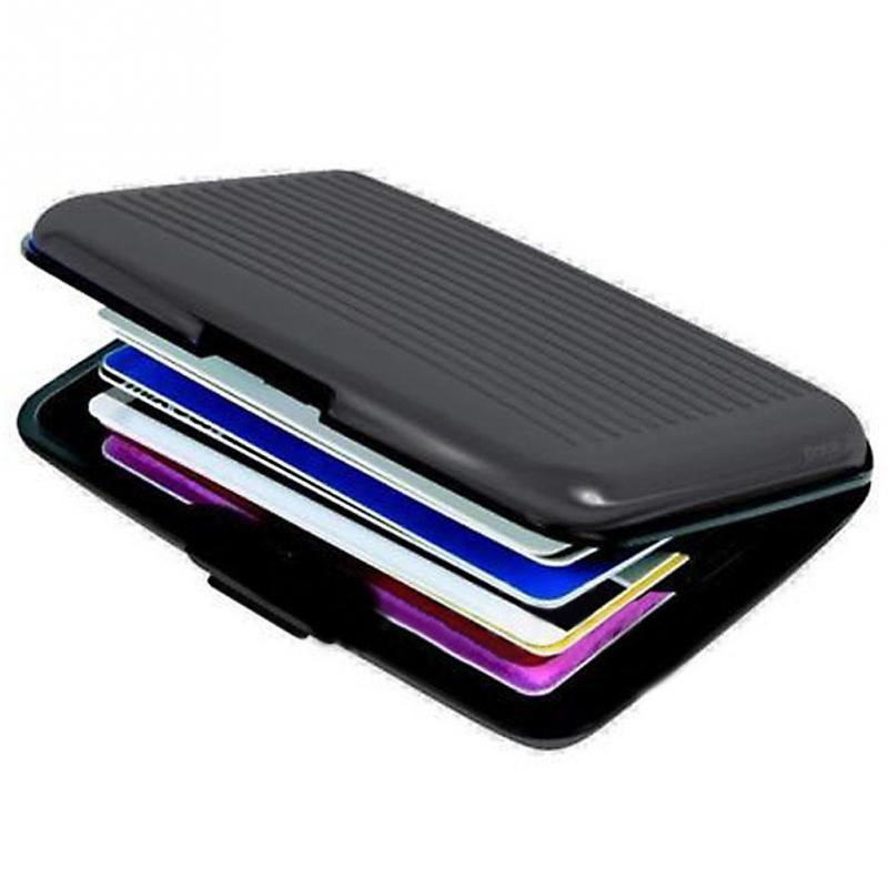 Multicolor Waterproof Aluminum Business ID Credit Card Stocks Metal Pocket Mini Case Cards Holder Pocket Wallet Holder Black mini metal business name card case id credit card holder bank card holder waterproof business cards organizer office supplies