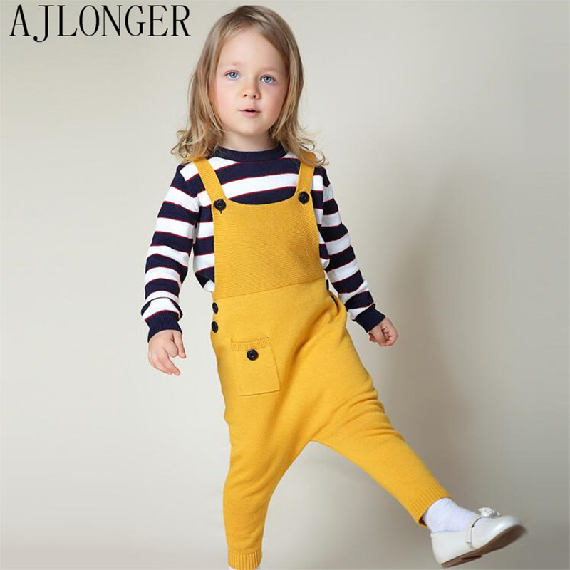 2016 Children Knitting Overalls Pants Winter Warm Boys & Girls Cotton Knitted Trousers Kids