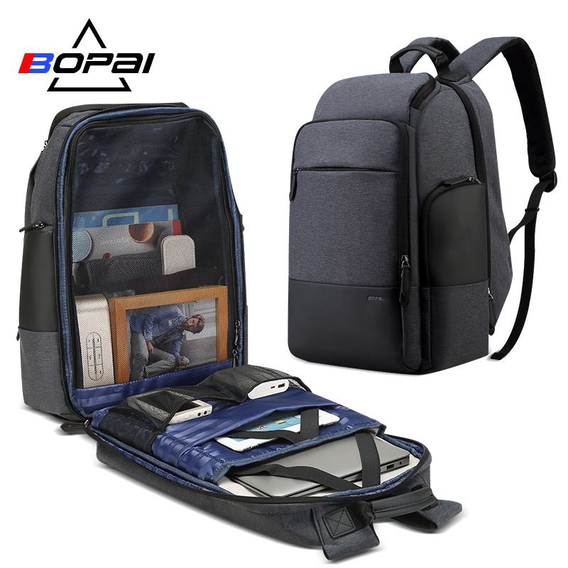 BOPAI 17inch Laptop Backpack USB Charging Bag Multifunction Anti theft Business High Capacity Waterproof Men Travel