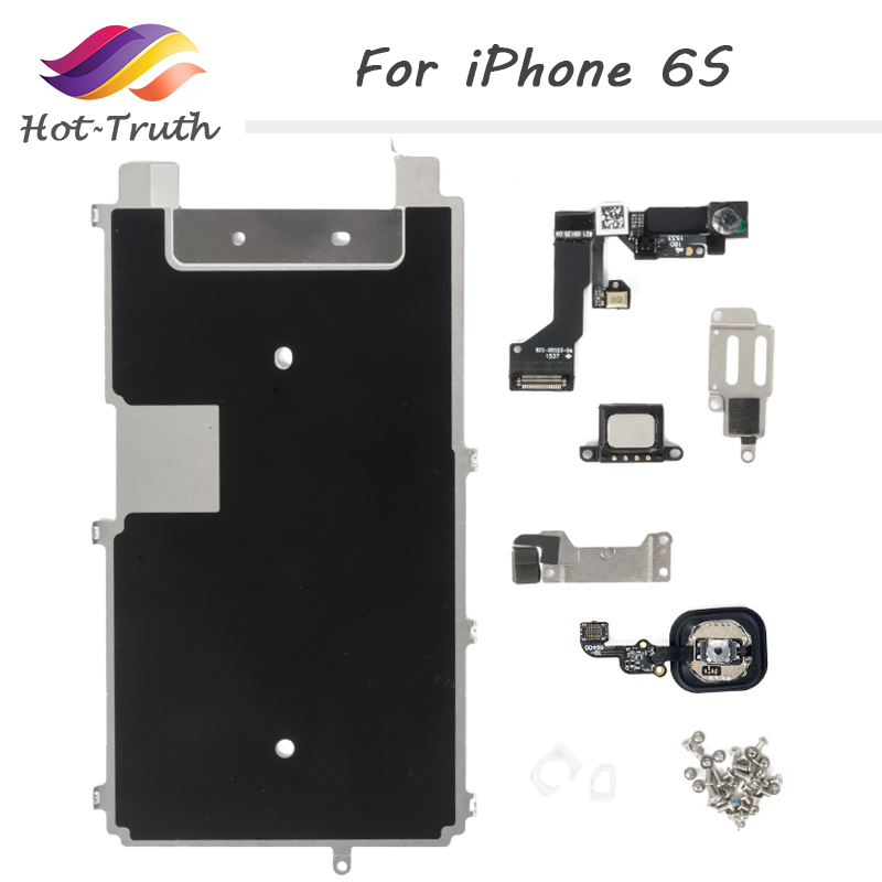 1 Set 8 Piece Free Shipping Full Set Spare Parts for iPhone 6S with Home Button+Speaker+Flex Cable+Front Camera For Apple 6S image
