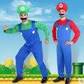 Halloween Adult Men Super Mario Luigi Brothers Costumes Men Plumber Costume Jumpsuit Fancy Cosplay Clothing
