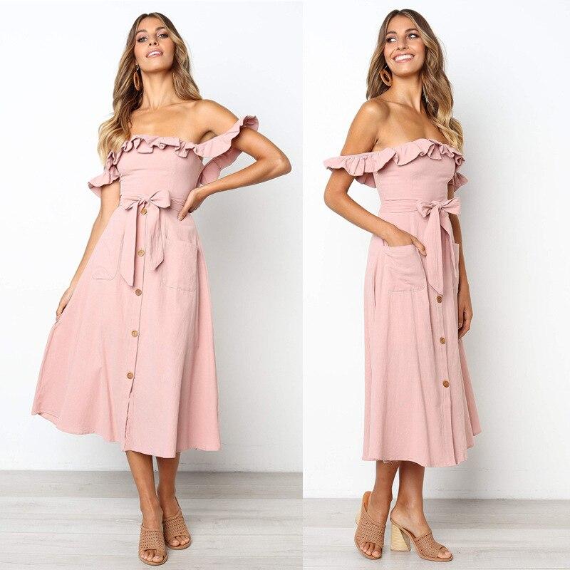 Backless Sexy Women Summer Dress 19 Ruffles Off Shoulder Beach Dress Buttons Strapless Long Sundress Boho Midi Dress Ladies 20