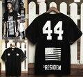 Nuevos mens camisetas moda 2014 presidente 44 estrella de cinco puntas de cuero de cuello digital de manga corta para hombre de cuero camiseta