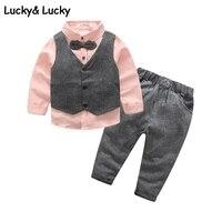 אדון סטי בגדים חדשים בגדי ילדים בני בגדי 3 יח'\סט ורוד חתונה ומסיבה roupas חולצה + גופייה + מכנסיים infantis menino