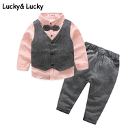 New Clothing Sets Gentleman Kids Clothes Wedding And Party Boys Clothes 3pcs Set Pink Shirt Vest