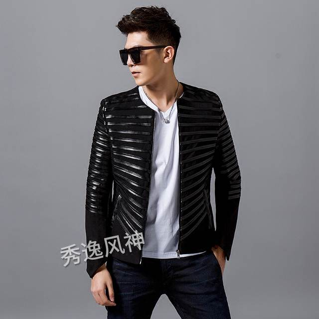 100%real men black stripe sewing event/stage performance short tuxedo  jacket/stage performance/ASIA SIZE
