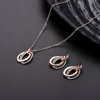 New women's fashion hollow double oval ring rhinestone wedding necklace earrings for girl