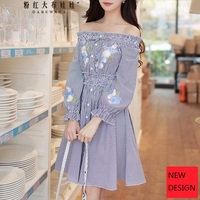 original 2018 brand spring slash neck elastic waisted long sleeve embroidery floral blue and white striped dress women wholesale