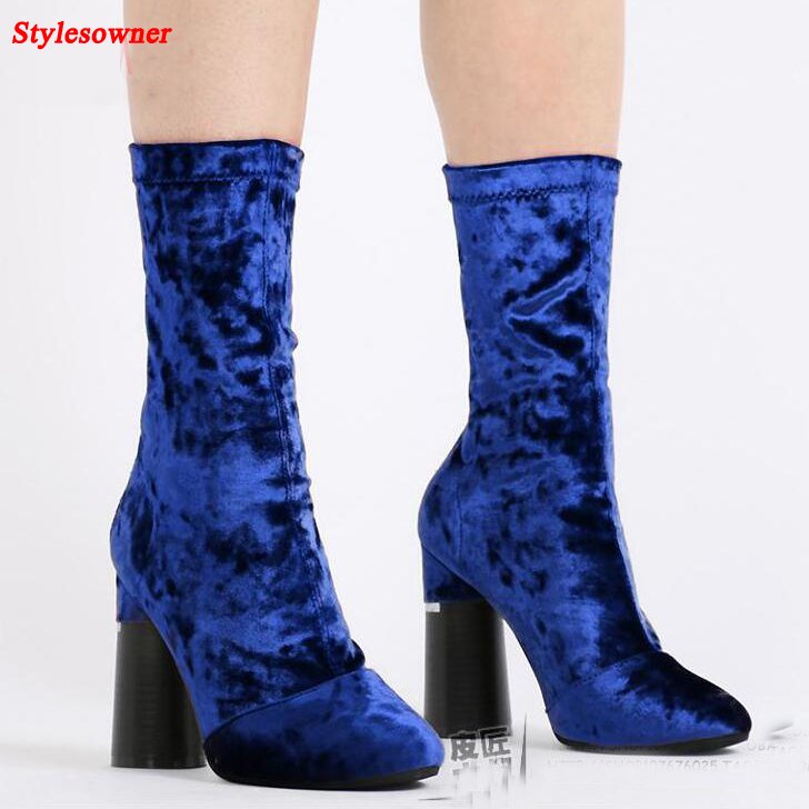Stylesowner Tide Women Elastic Velvet Boots Short Mid-calf Thick Heel Sexy Boots For Women Hot Selling Back Zipper Zapatos Mujer stylish women s mid calf boots with solid color and fringe design