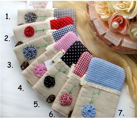 10pcs/lot New Cute Kawaii Gingham Fabric Mobile/cell Phone case Pouch/bag/pocket Sock product,more low price
