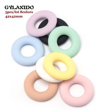 5Pcs Perle Silicone Beads Round Silicone Teether Baby Teething Ring 42mm Food Gr