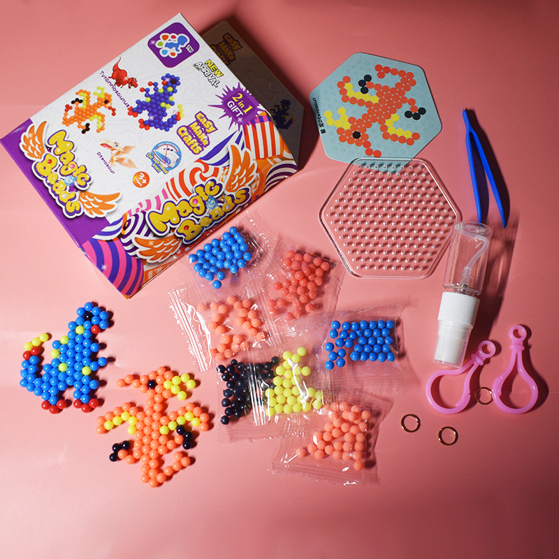 2019 Water Beads Toy Perler Pegboard For Children DIY Tyrannosaurus&Dterosaur Water Beadbond Set Fuse Jigsaw Puzzle Educational