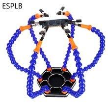ESPLB trzecia pomocna dłoń stacja lutownicza 6 sztuk elastyczne ramiona 3X powiększające USB latarka lupa naprawa spawalnicza stacja