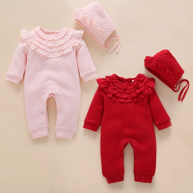 Newborn Autumn Winter Thick Lace Romper Baby Girls Pink Air Cotton Warm Rompers+Kids Hat Baby Clothes Infantil Jumpsuit Coverall