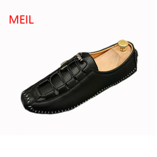 Luxury Men Casual Leather Shoes Spring Autumn Loafers Man Split Leather Fashion Driving Shoes Men Black Slip on Shoes Male Flats цены онлайн