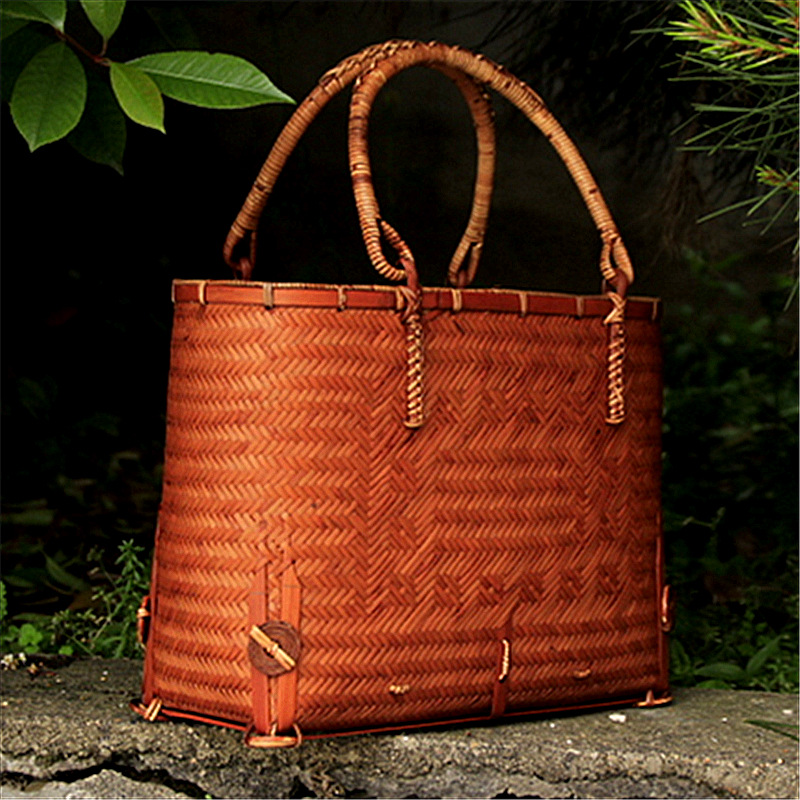 Pure Hand Woven Bamboo Tea Bag Handbag Handbag Bag Tea Art