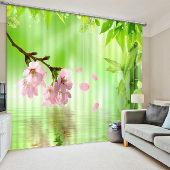 New Pink Peach & Butterfly Pattern 3D Blackout Curtains Fabric Washable Hooks Curtains Bedroom Curtains for Living Room Textiles