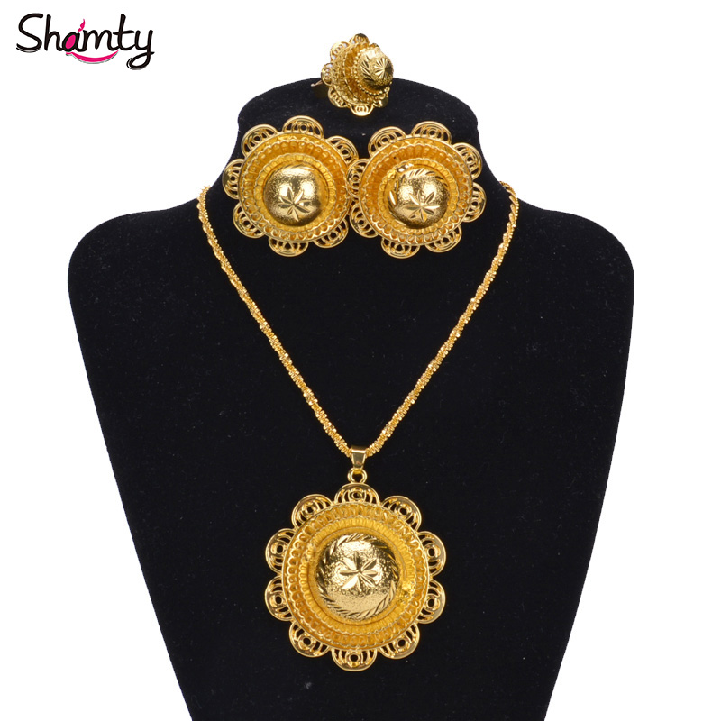 Shamty Sudan Nigeria Eritrea Kenya Wedding Jewelry Set Pure Gold Color African Gold Set Habesha style Romantic A30021