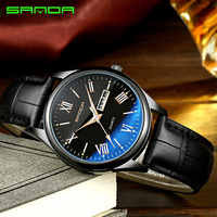 SANDA Business Quartz Watch Men Watches Top Brand Luxury Famous Male Clock Leather Wristwatch For Man