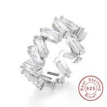 Горячие Стиль 925 серебро белыми камнями CZ циркон Обручение ювелирные изделия вечность Для женщин группа укладки кольца для свадьбы размер 5-10