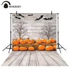 Allenjoy photography background Halloween wooden pumpkin patch bat spider web dead trees straw backdrop photocall fotografia