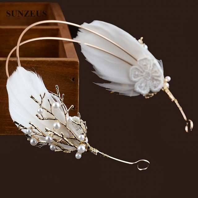 Bridal Hair Accessories Wedding Evening Headband Red/Ivory Feather Hair Band Bandeau De Luxe Pour Cheveux SQ075