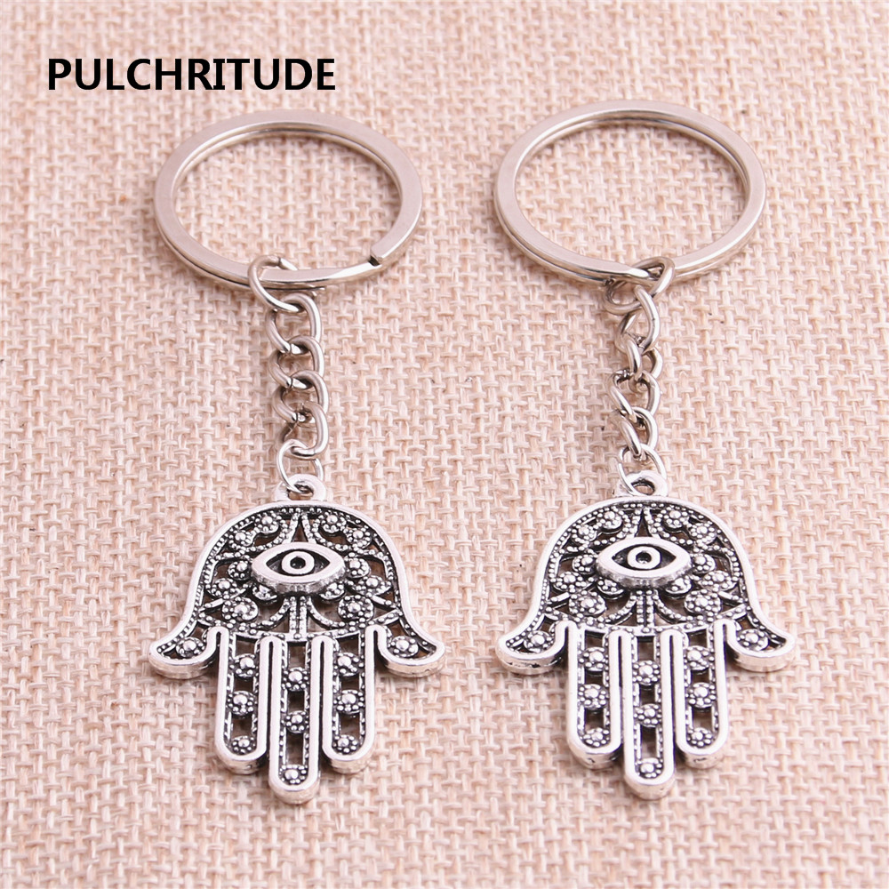 Jewelry Sets & More Pulchritude Metal Alloy Zinc Antiqeu Silver Fashion 5pcs/lot Hand Pendant Hamsa Hand Charm Key Chain Diy Jewelry Making C1268 Special Summer Sale Key Chains