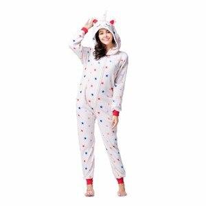 Image 3 - Flannelสัตว์Unicornชุดนอนชุดผู้หญิงผู้ชายKigurumiผู้ใหญ่Onesies Unicorn Panda Stitch CosplayฤดูหนาวWarm Hoodedชุดนอน