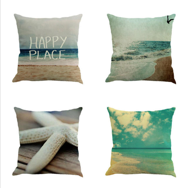 45cm Hy Beach Pattern Linen Cotton Throw Pillow Covers Couch Cushion Cover Home